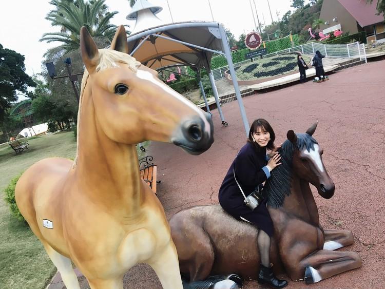 馬の像と撮影