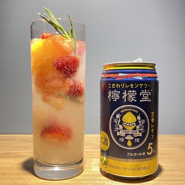 缶チューハイ「檸檬堂」にフルーツを入れるレシピ