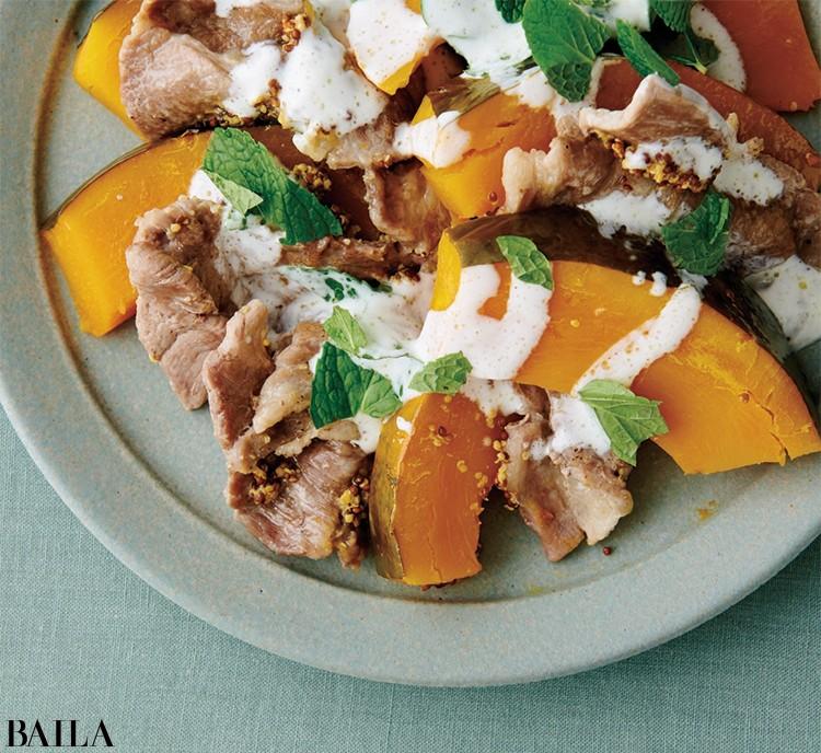 かぼちゃと豚肉のミントクリームソース