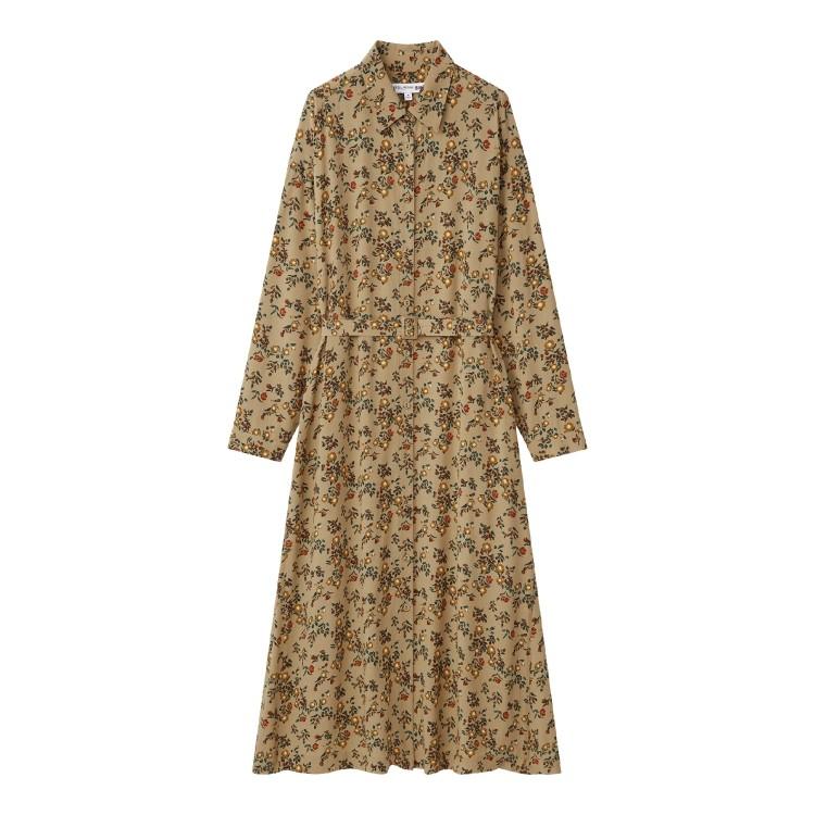 ユニクロ × イネス・ド・ラ・フレサンジュ 2021年秋冬コレクション レーヨンプリントシャツワンピース(長袖)¥4990