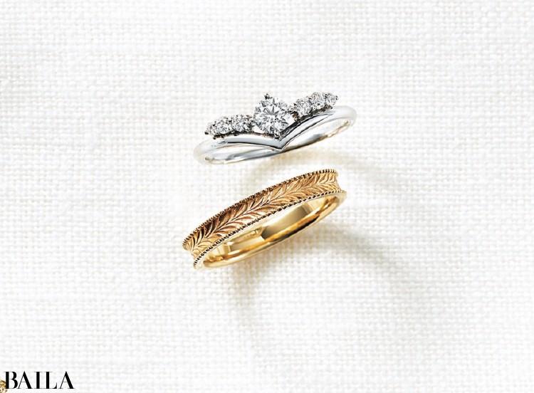 V字を描くダイヤモンドリングは指を細く美しく見せてくれる。