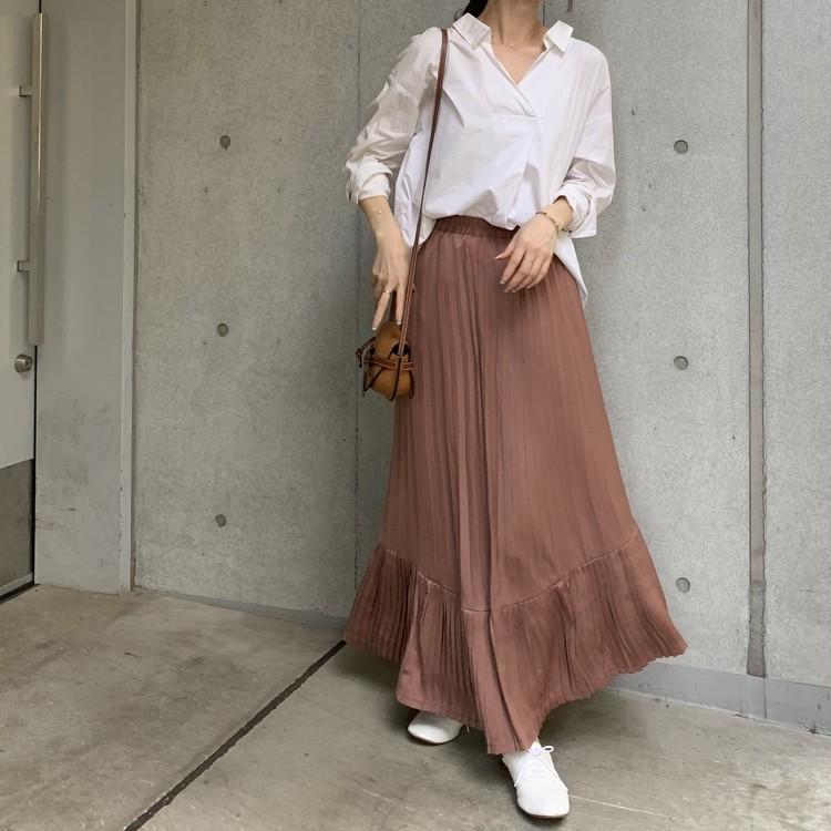 白シャツ×スカート。秋はブラウンが断然おしゃれで女っぽい♡_4