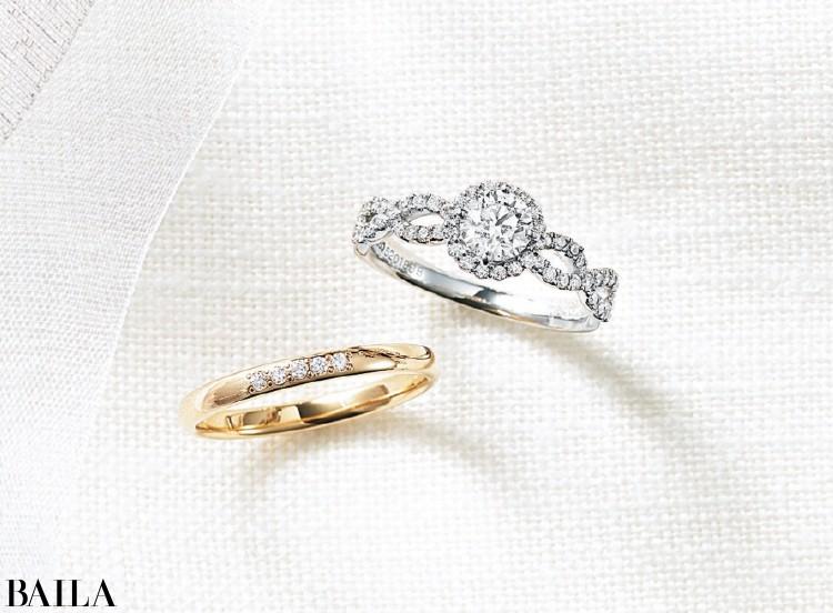 ダイヤをちりばめたエレガントな曲線のアームで指先を華やかに。