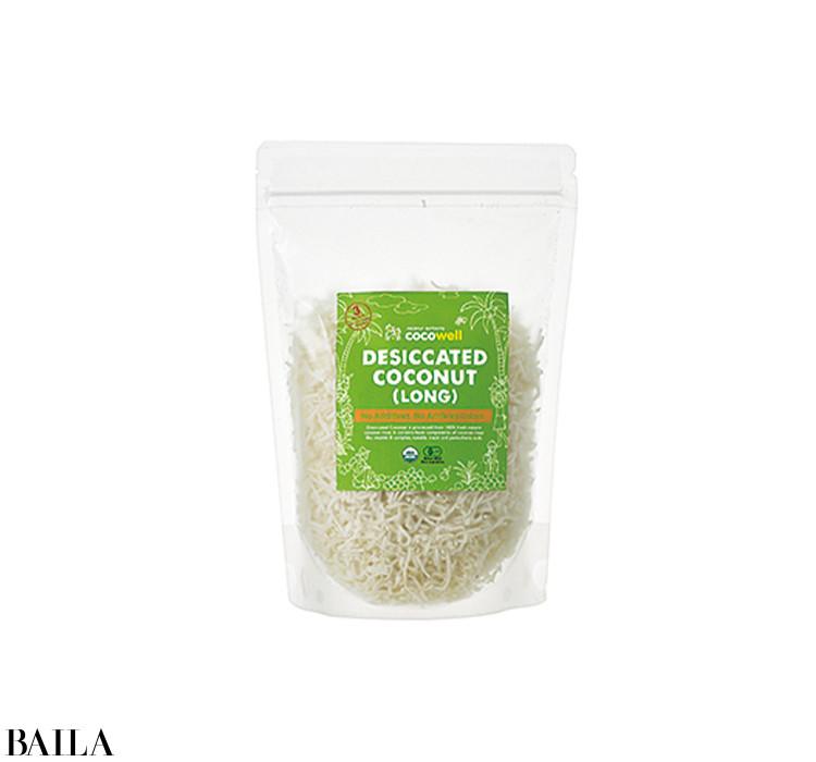 シャリッとした食感の有機乾燥ココナッツ。生のままでも、フライパンでからいりしても。200g ¥508