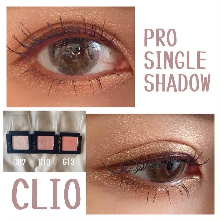 クリオのアイシャドウ「プロシングルシャドウ」 G02 CATBREEZE(キャットブリーズ)、G10 PEARLFECTION(パールフェクション)、G13 PINKLUSTER(ピンクラスター)を実際に目元に塗って試してみた