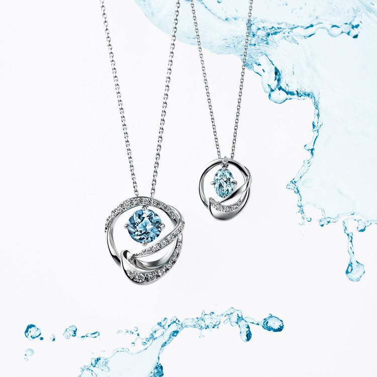 【スタージュエリー】PT950 アクアマリン/ダイヤモンドネックレス(左)¥220000・(右)¥90000