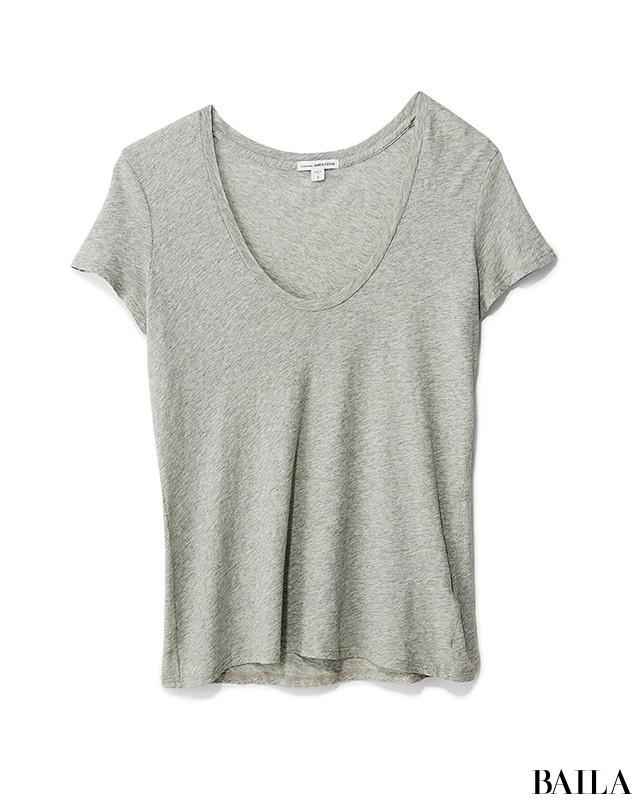 グレーゆるUネックTシャツ