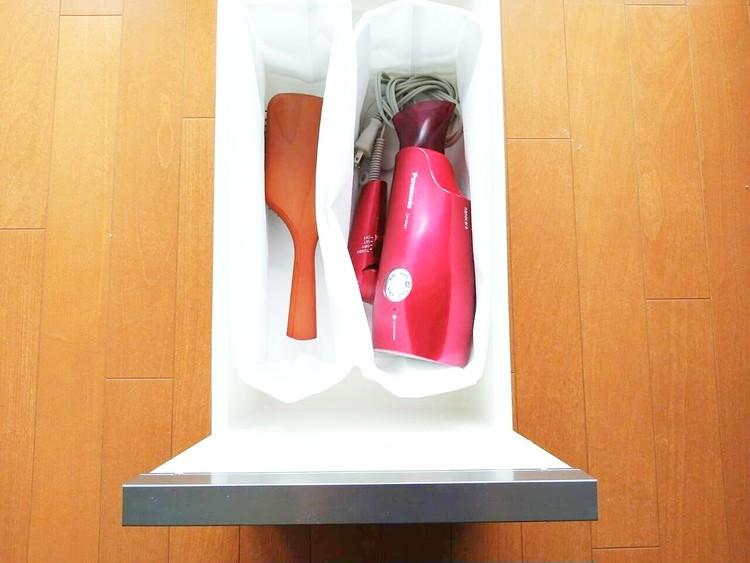 洗面所の引き出しに入れた高さが変えられる不織布仕切ケース