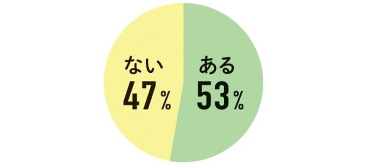 ある 53% ない 47%