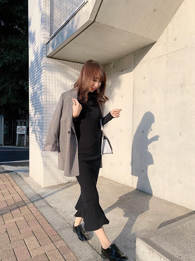 黒ワンピとナノユニバースのジャケットで【154cmコーデ】_1