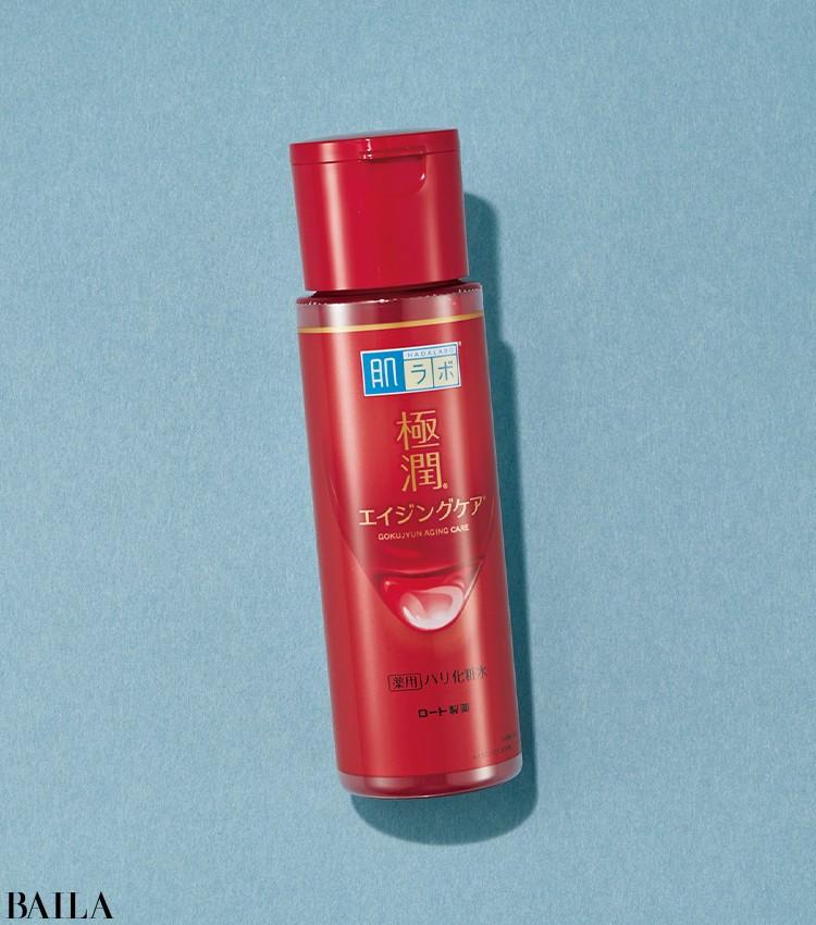 シワ改善&シミ対策効果のある有効成分を配合。バイラ世代のプレエイジングケアに。肌ラボ 極潤薬用ハリ化粧水(医薬部外品) 170㎖ ¥1100(編集部調べ)/ロート製薬