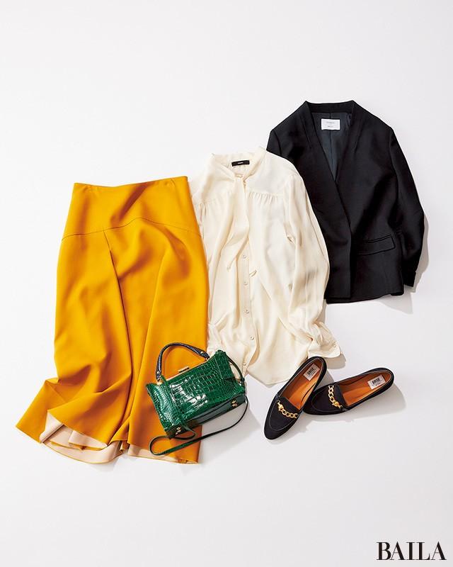 腰高フレアスカートで、きちんとジャケットを華やか&女っぽく!_1