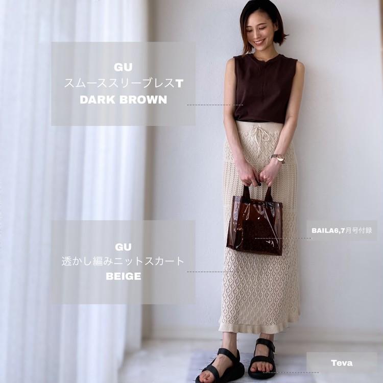GUコーデ!大人気の透かし編みニットスカートが進化して再販!_3