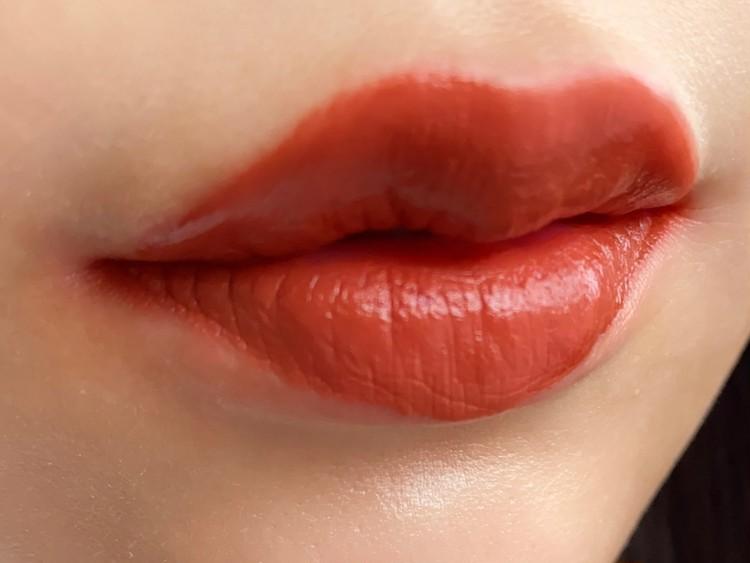 BLドラマ「2gether」のブライトとウィンがモデルとして起用されているタイの有名コスメブランド「Cathy Doll」(キャシードール)の「リップアンドチーク ヌードマットティント ♯10 BRICK CARNIVAL」を実際に唇に塗って、試してみた