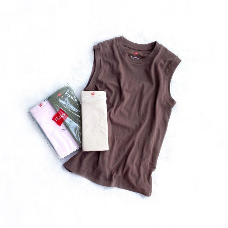 Hanes for BIOTOPの別注スリーブレスTシャツ