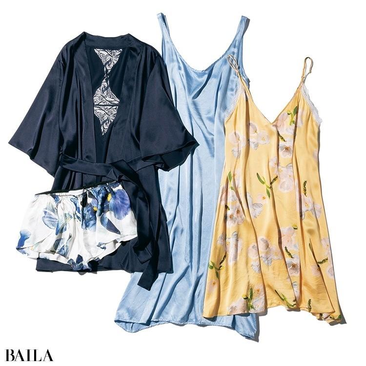 いろいろ着ているけど、お気に入りはシルクのちょっとフェミニンなローブやスリップドレス。
