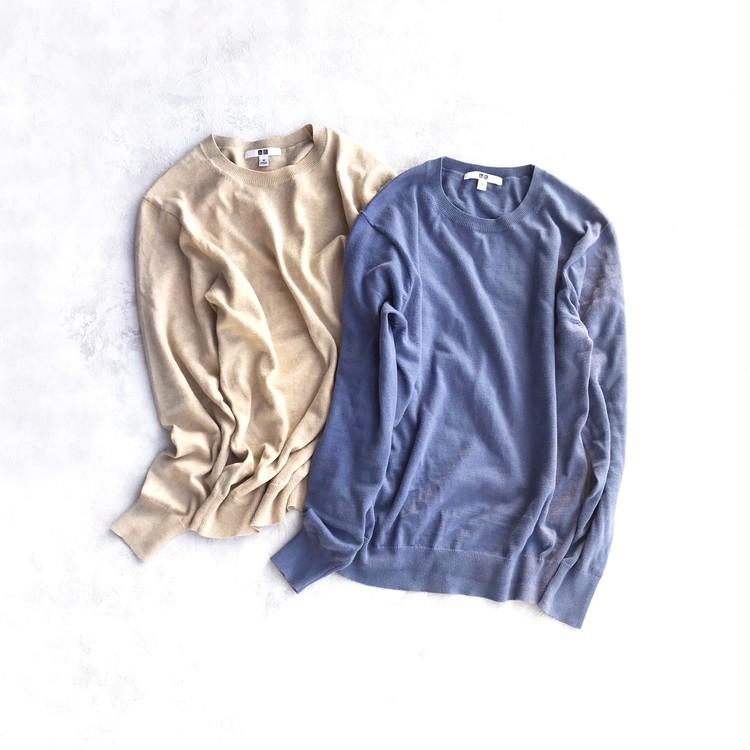 ユニクロのコットンカシミヤクルーネックセーター