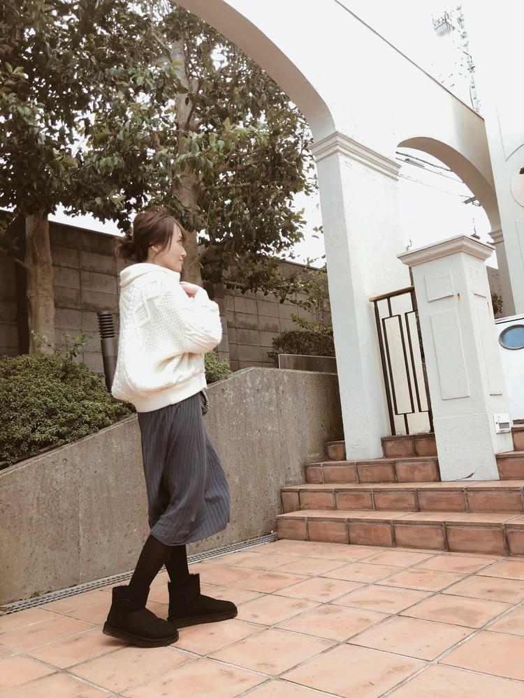 【Uniqlo  U着まわしコーデ】3Dエクストラファインメリノリブフレアワンピース_6