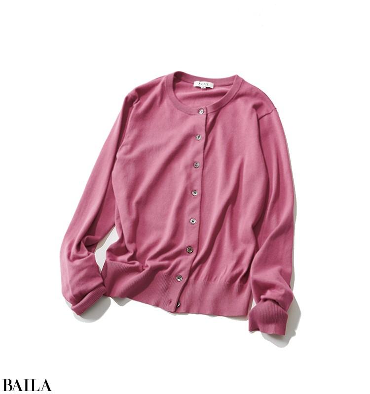 天気の悪い日の朝は、ピンクのカーデで明るい印象に! 【2020/4/11のコーデ】_2_1