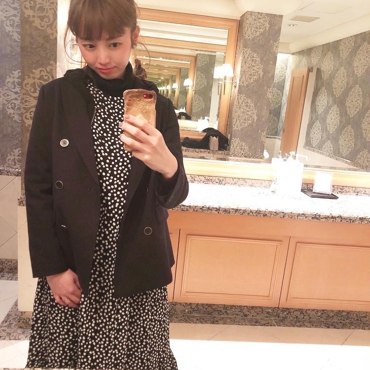 ドット柄がかわいい♡ZARAのワンピースでホテルランチ_3