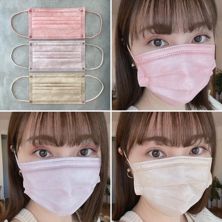 【注文殺到】カラー不織布マスク!人気の『血色マスク』3色を比較してみた_3