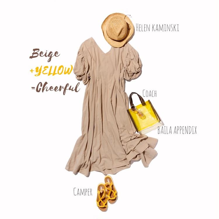 エミアトリエのワンピースの+黄色着回し