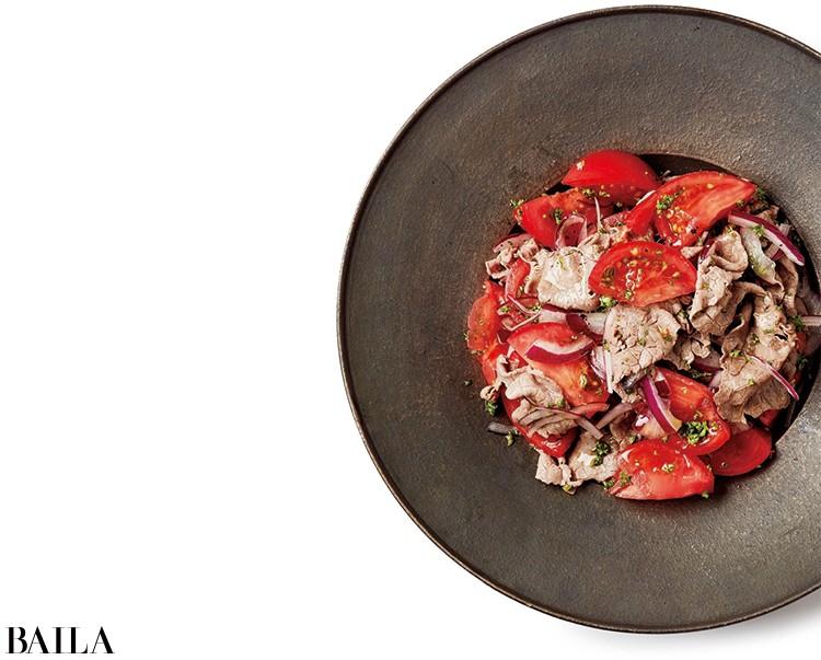 牛もも薄切り肉とトマトのマリネ