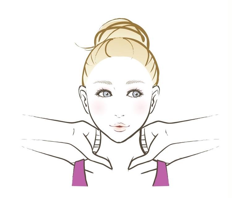 【顔筋ほぐし】1:親指で胸鎖乳突筋肉(きょうさにゅうとつきん)をおさえながら、両手で首を挟む