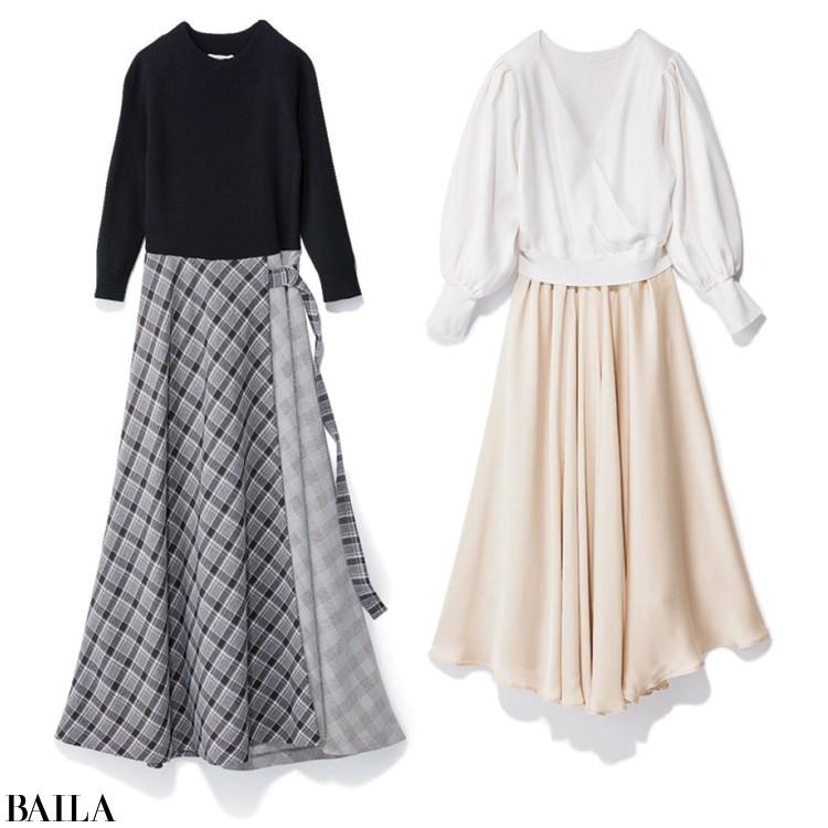 カシュクールニットと光沢感のあるサテンスカート