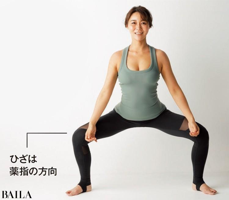股関節を外旋した状態で保つのに効果的なのが、内ももを鍛えるスクワット。