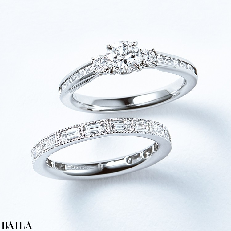 プラチナをフレームに、ダイヤモンドを並べたシャンク