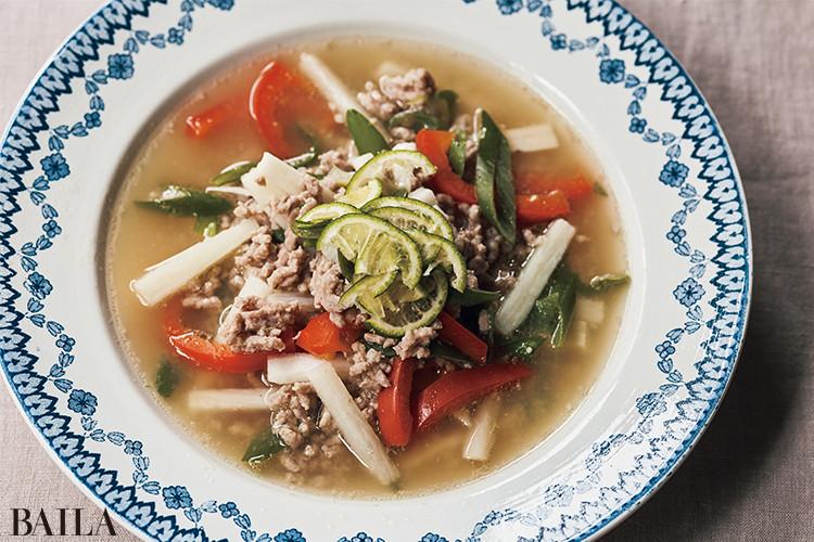 豚ひき肉と長いもの さっぱりすだちスープ