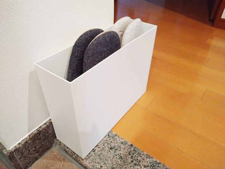 スリッパを収納したファイルボックス