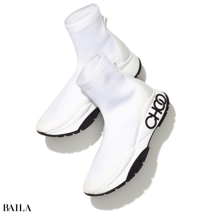 JIMMY CHOO《ジミー チュウ》の白スニーカー