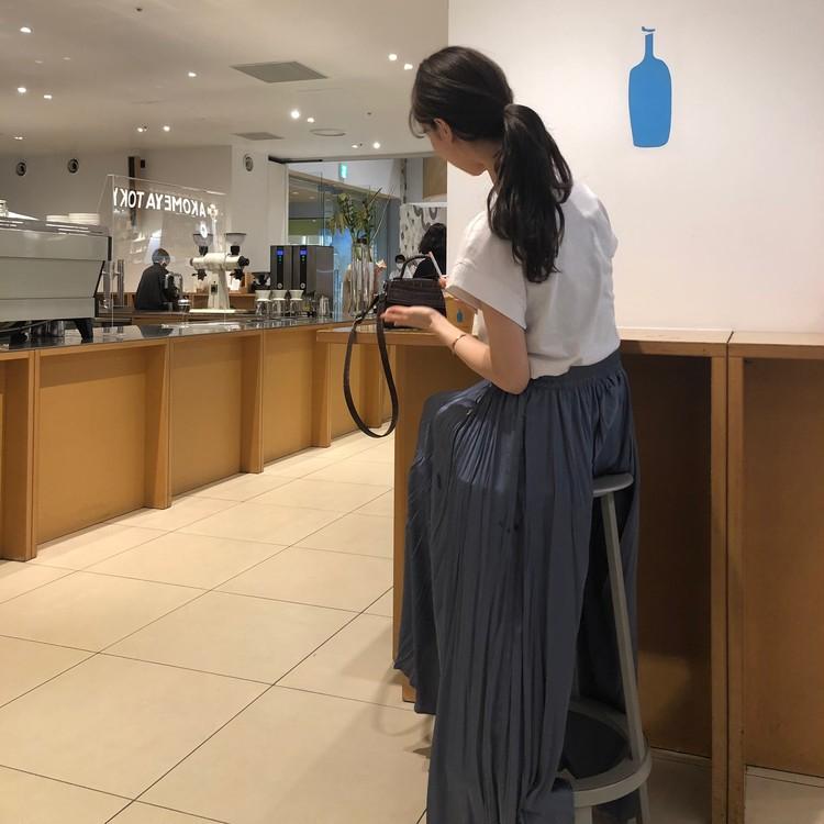 【ZARA】くすみブルーの主役級ロングスカート_1