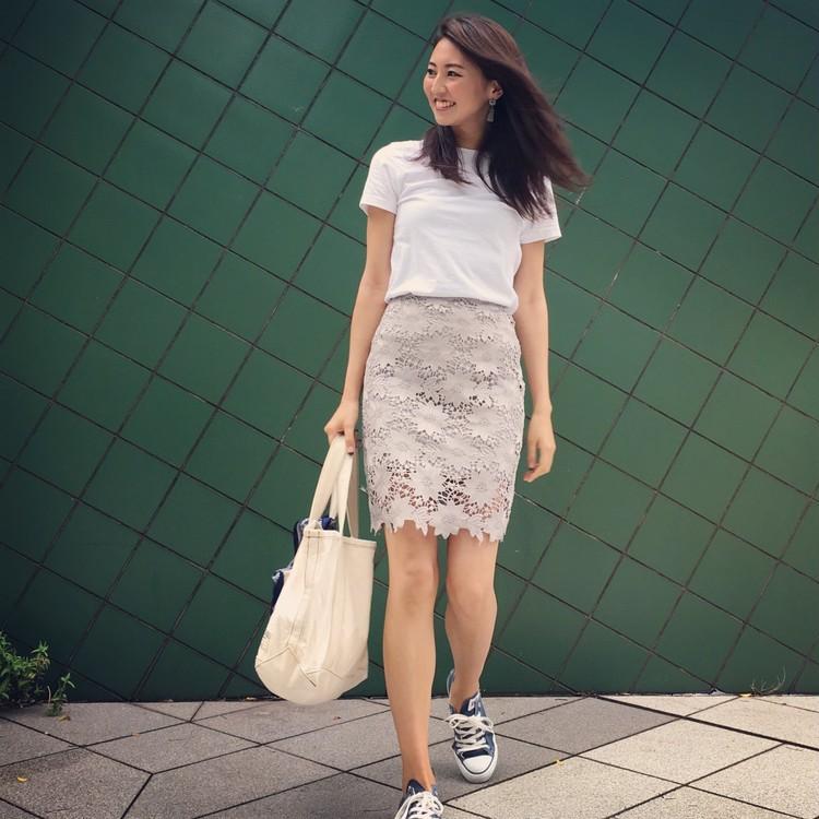 GUのメンズTシャツ×タイトスカートでお仕事コーデ。_6