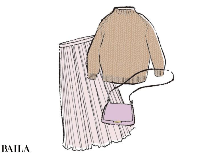 ラベンダーやピンクの洋服や小物を身につけて