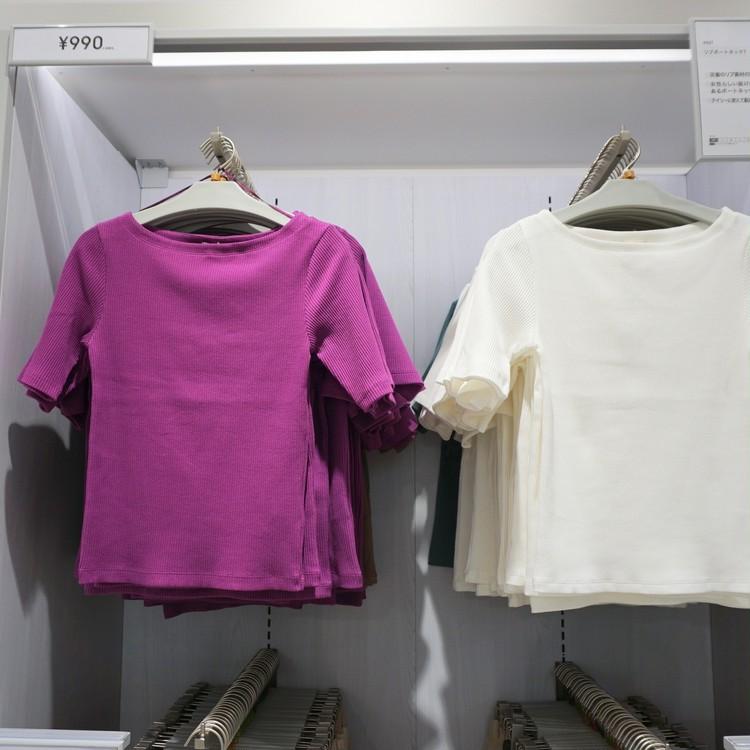 【GU(ジーユー)】渋谷店で30代女子に人気の通勤服(¥990カットソートップス)