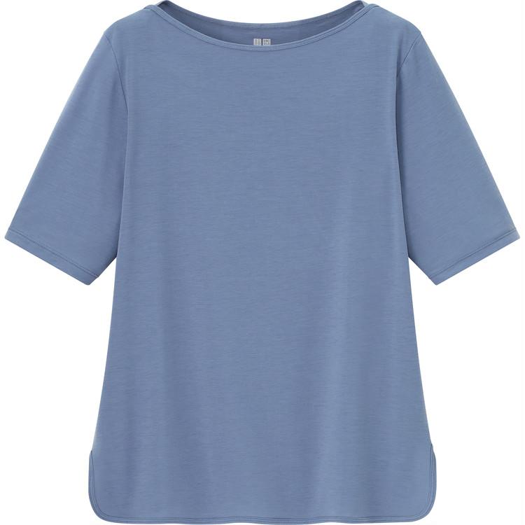 エアリズムボートネックTシャツ(5分袖) ¥1500