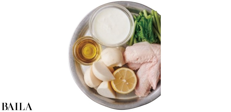 かぶと手羽先のヨーグルトレモンスープ材料