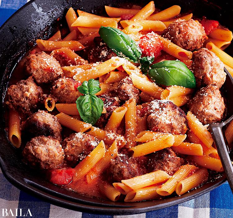 ミートボールトマト煮ペンネ