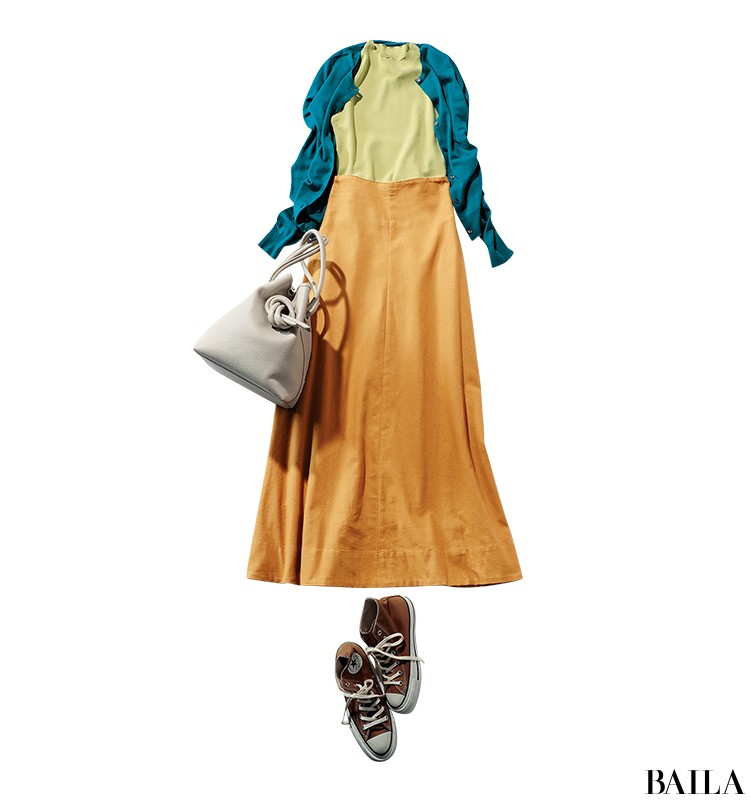 両親に彼を会わせる日は、旬カラーのきれいめスカートスタイルをちょっぴりカジュアルに!【2019/9/8のコーデ】_1