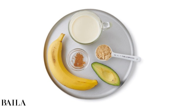 バナナアボカドきな粉豆乳スムージー