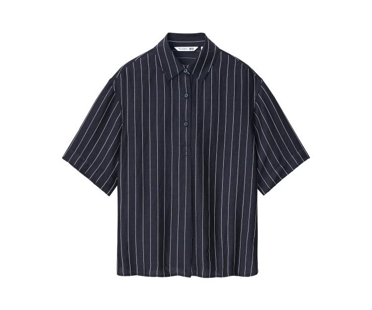 「ユニクロ アンド JW アンダーソン」2021春夏最新コレクション リネンブレンドストライププルオーバーシャツ(半袖)¥2990