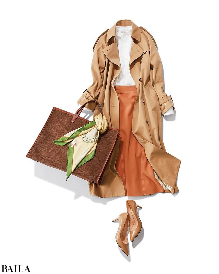 セミナーに参加する日は、白シャツ×オレンジスカートのアガるきちんとコーデ【2020/2/19のコーデ】_1