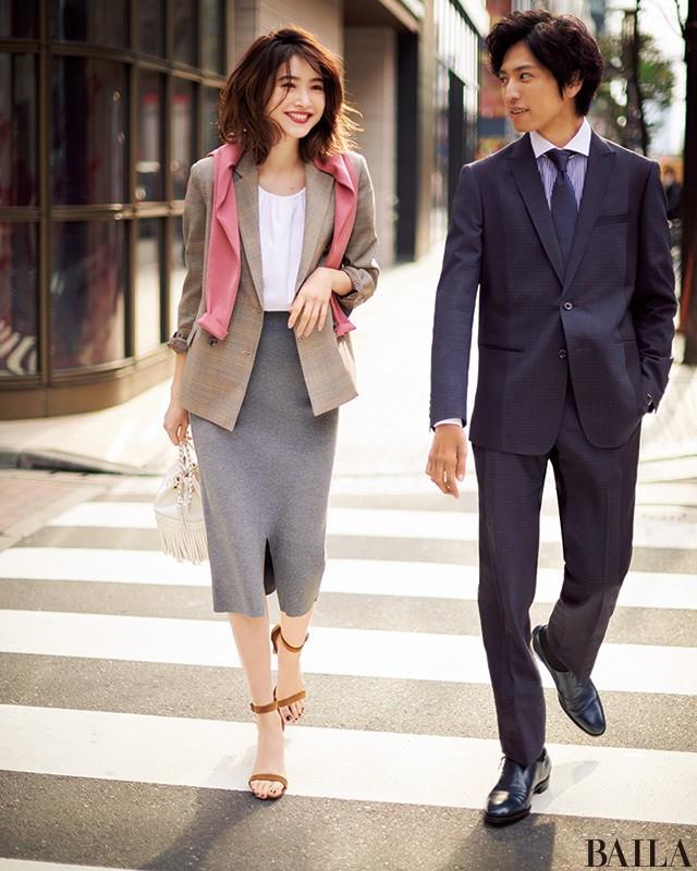 春のきれいめジャケットスタイルは、カラーカーデで華やかに!_1