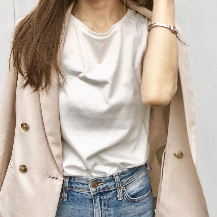 【通勤コーデ】UNIQLO(ユニクロ)Tシャツ×ジャケット_3