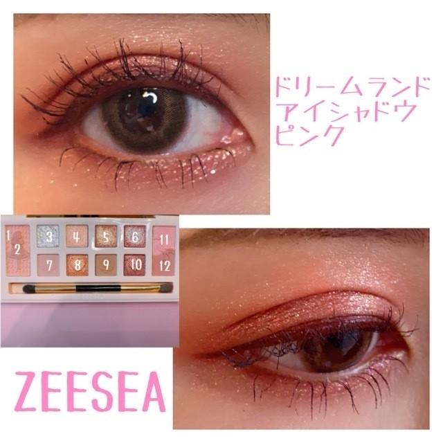 中国コスメ、「ZEESEA(ズーシー)」の12色アイシャドウパレット、「ドリームランドアイシャドウピンク」を実際に目元に塗って試してみた