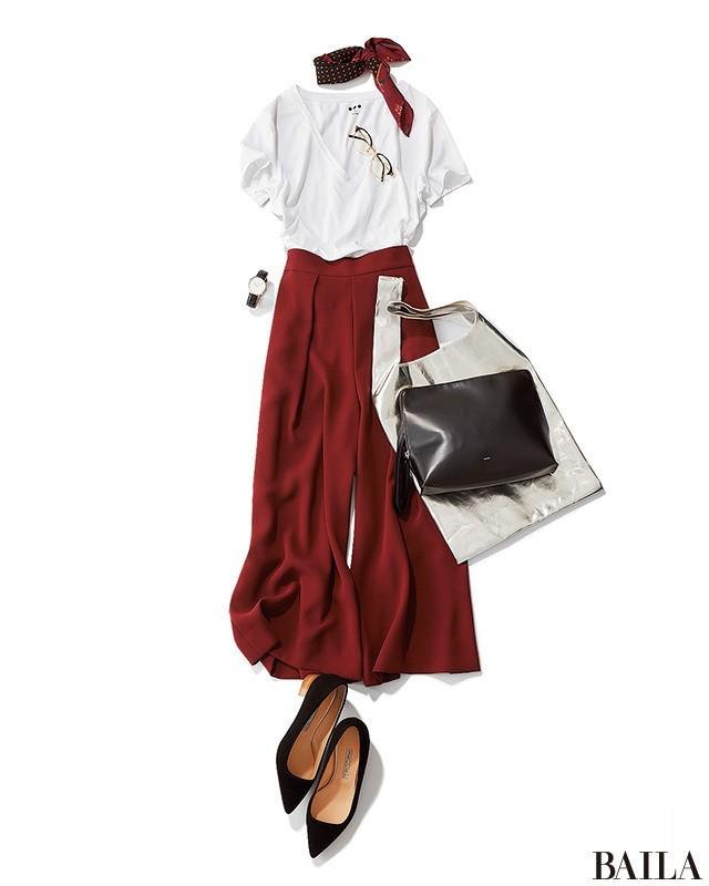 秋を先取り! 8月は赤みブラウンパンツをTシャツで爽やかに仕上げて♪_1