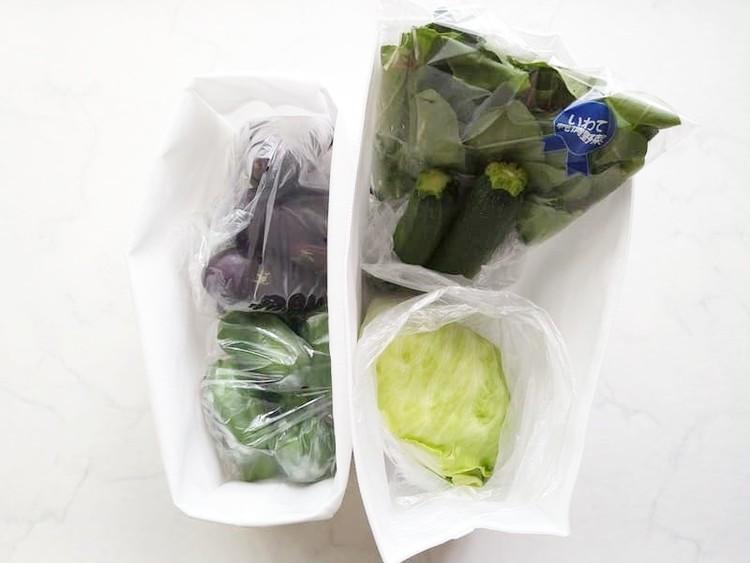 野菜を入れた高さが変えられる不織布仕切ケース